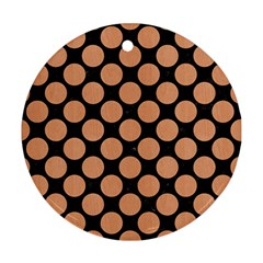 Circles2 Black Marble & Natural Red Birch Wood Ornament (round) by trendistuff