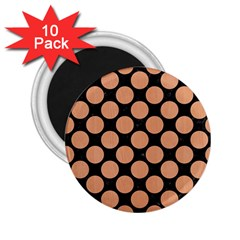 Circles2 Black Marble & Natural Red Birch Wood 2 25  Magnets (10 Pack)  by trendistuff