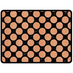 Circles2 Black Marble & Natural Red Birch Wood Double Sided Fleece Blanket (large)  by trendistuff