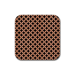 Circles3 Black Marble & Natural Red Birch Wood Rubber Coaster (square)  by trendistuff