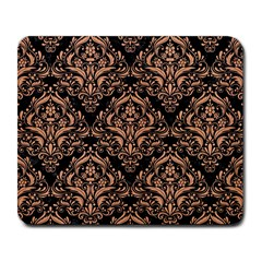 Damask1 Black Marble & Natural Red Birch Wood Large Mousepads by trendistuff