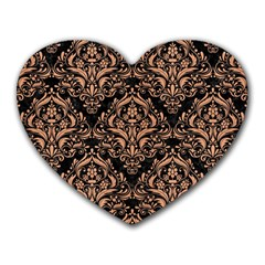 Damask1 Black Marble & Natural Red Birch Wood Heart Mousepads by trendistuff