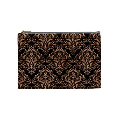 Damask1 Black Marble & Natural Red Birch Wood Cosmetic Bag (medium)