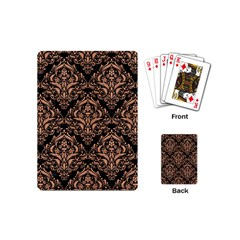Damask1 Black Marble & Natural Red Birch Wood Playing Cards (mini)  by trendistuff
