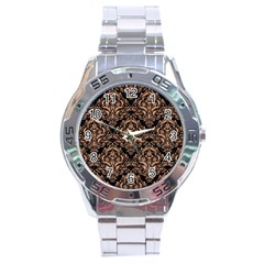 Damask1 Black Marble & Natural Red Birch Wood Stainless Steel Analogue Watch by trendistuff