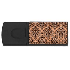 Damask1 Black Marble & Natural Red Birch Wood (r) Rectangular Usb Flash Drive by trendistuff