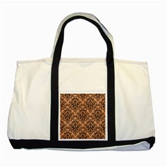Damask1 Black Marble & Natural Red Birch Wood (r) Two Tone Tote Bag by trendistuff
