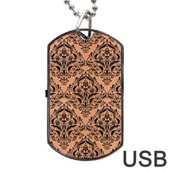 Damask1 Black Marble & Natural Red Birch Wood (r) Dog Tag Usb Flash (one Side) by trendistuff