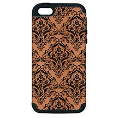 Damask1 Black Marble & Natural Red Birch Wood (r) Apple Iphone 5 Hardshell Case (pc+silicone) by trendistuff