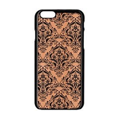 Damask1 Black Marble & Natural Red Birch Wood (r) Apple Iphone 6/6s Black Enamel Case by trendistuff