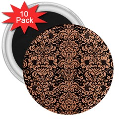 Damask2 Black Marble & Natural Red Birch Wood 3  Magnets (10 Pack)  by trendistuff