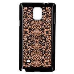 Damask2 Black Marble & Natural Red Birch Wood Samsung Galaxy Note 4 Case (black) by trendistuff