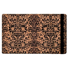 Damask2 Black Marble & Natural Red Birch Wood (r) Apple Ipad 3/4 Flip Case by trendistuff