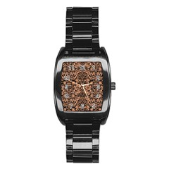 Damask2 Black Marble & Natural Red Birch Wood (r) Stainless Steel Barrel Watch by trendistuff