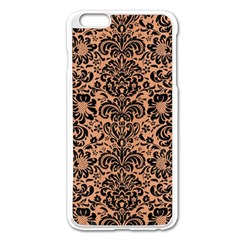 Damask2 Black Marble & Natural Red Birch Wood (r) Apple Iphone 6 Plus/6s Plus Enamel White Case by trendistuff