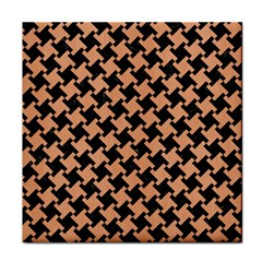 Houndstooth2 Black Marble & Natural Red Birch Wood Tile Coasters by trendistuff