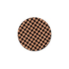Houndstooth2 Black Marble & Natural Red Birch Wood Golf Ball Marker (4 Pack) by trendistuff