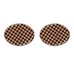 Houndstooth2 Black Marble & Natural Red Birch Wood Cufflinks (oval) by trendistuff