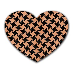 Houndstooth2 Black Marble & Natural Red Birch Wood Heart Mousepads by trendistuff