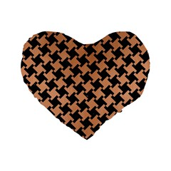 Houndstooth2 Black Marble & Natural Red Birch Wood Standard 16  Premium Heart Shape Cushions by trendistuff