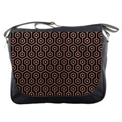 Hexagon1 Black Marble & Natural Red Birch Wood Messenger Bags by trendistuff