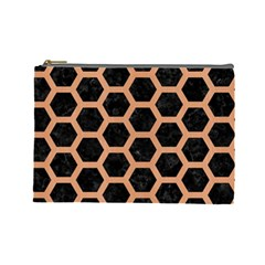 Hexagon2 Black Marble & Natural Red Birch Wood Cosmetic Bag (large)  by trendistuff