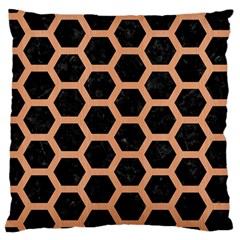 Hexagon2 Black Marble & Natural Red Birch Wood Large Cushion Case (two Sides) by trendistuff