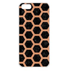 Hexagon2 Black Marble & Natural Red Birch Wood Apple Iphone 5 Seamless Case (white) by trendistuff