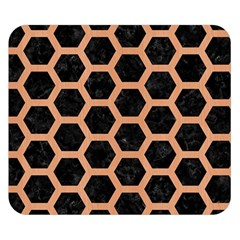 Hexagon2 Black Marble & Natural Red Birch Wood Double Sided Flano Blanket (small)  by trendistuff