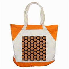 Hexagon2 Black Marble & Natural Red Birch Wood (r) Accent Tote Bag