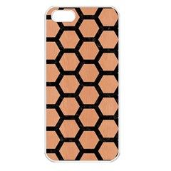 Hexagon2 Black Marble & Natural Red Birch Wood (r) Apple Iphone 5 Seamless Case (white) by trendistuff