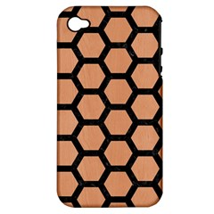 Hexagon2 Black Marble & Natural Red Birch Wood (r) Apple Iphone 4/4s Hardshell Case (pc+silicone) by trendistuff