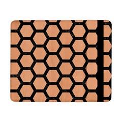 Hexagon2 Black Marble & Natural Red Birch Wood (r) Samsung Galaxy Tab Pro 8 4  Flip Case by trendistuff