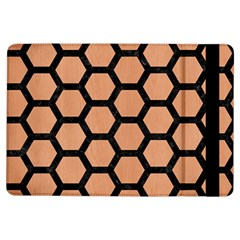 Hexagon2 Black Marble & Natural Red Birch Wood (r) Ipad Air Flip by trendistuff
