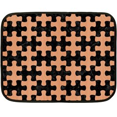 Puzzle1 Black Marble & Natural Red Birch Wood Fleece Blanket (mini) by trendistuff
