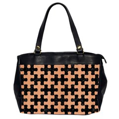 Puzzle1 Black Marble & Natural Red Birch Wood Office Handbags (2 Sides)  by trendistuff