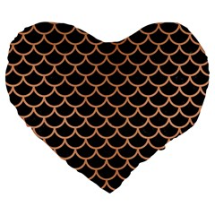 Scales1 Black Marble & Natural Red Birch Wood Large 19  Premium Heart Shape Cushions by trendistuff