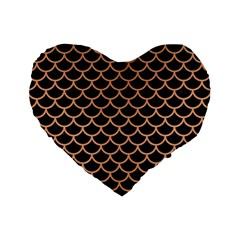 Scales1 Black Marble & Natural Red Birch Wood Standard 16  Premium Flano Heart Shape Cushions by trendistuff