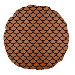 Scales1 Black Marble & Natural Red Birch Wood (r) Large 18  Premium Flano Round Cushions by trendistuff