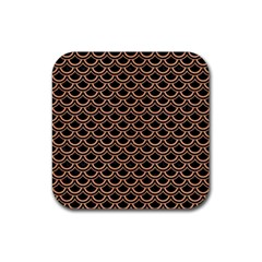 Scales2 Black Marble & Natural Red Birch Wood Rubber Square Coaster (4 Pack)  by trendistuff