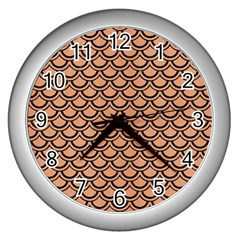 Scales2 Black Marble & Natural Red Birch Wood (r) Wall Clocks (silver)  by trendistuff