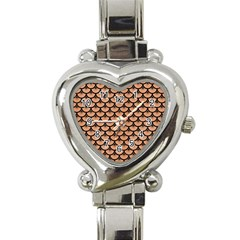 Scales3 Black Marble & Natural Red Birch Wood (r) Heart Italian Charm Watch by trendistuff