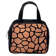 Skin1 Black Marble & Natural Red Birch Wood Classic Handbags (one Side) by trendistuff