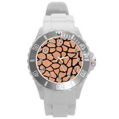 Skin1 Black Marble & Natural Red Birch Wood Round Plastic Sport Watch (l) by trendistuff