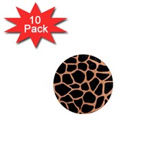 Skin1 Black Marble & Natural Red Birch Wood (r) 1  Mini Magnet (10 Pack)  by trendistuff