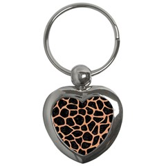 Skin1 Black Marble & Natural Red Birch Wood (r) Key Chains (heart)  by trendistuff