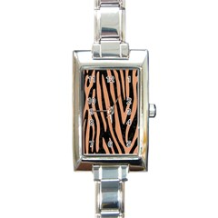 Skin4 Black Marble & Natural Red Birch Wood (r) Rectangle Italian Charm Watch by trendistuff