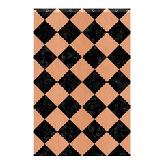 Square2 Black Marble & Natural Red Birch Wood Shower Curtain 48  X 72  (small)  by trendistuff