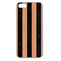 Stripes1 Black Marble & Natural Red Birch Wood Apple Seamless Iphone 5 Case (clear) by trendistuff