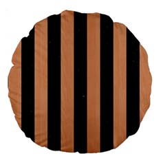 Stripes1 Black Marble & Natural Red Birch Wood Large 18  Premium Round Cushions by trendistuff